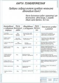 Технологическая карта проверки гидроусилителя рулевого механизма автомобиля КамАЗ