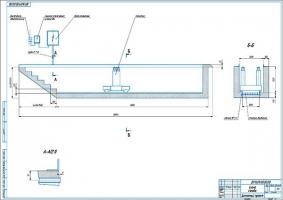 Схема расположения подъемника в осмотровой канаве