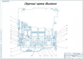 Сборочный чертеж двигателя ВАЗ 21083