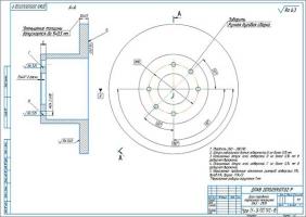 Тормозной диск ВАЗ–2109 Ремонтный чертеж