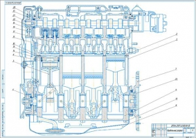 Продольный разрез двигателя ВАЗ 21083
