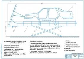 Схема стенда правки кузовов легковых автомобилей